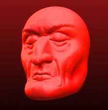 old man mask - red
