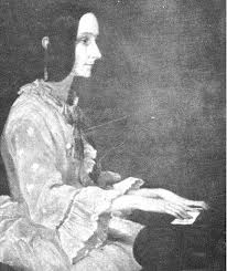 woman at piano, drawing